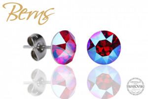 Cercei, cristale Swarovski, roz/albastru, diametru 8mm