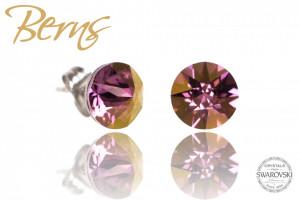 Cercei, cristale Swarovski, roz/galben, diametru 8mm