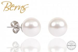 Cercei, perle Swarovski, alb, diametru 10mm