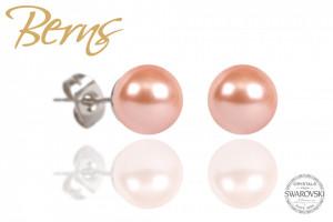 Cercei, perle Swarovski, rosegold, diametru 8mm
