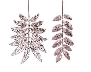 Creanga frunze artificiale, roz, 20 cm