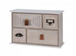 Cutie bijuterii din lemn, dreptunghiulara, 4 sertare