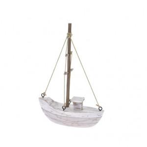 Decoratiune barca, lemn, 12.5x18x3.5 cm