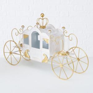 Decoratiune caleasca metalica, alb/auriu, 41 cm inaltime