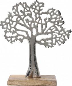 Decoratiune copac metalic, baza de lemn, 27x22.5 cm