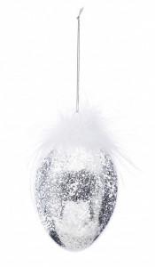 Decoratiune de sticla ou, argintiu, 12x8 cm