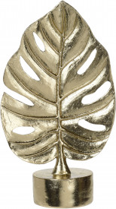 Decoratiune metalica frunza, aurie, 16x8 cm