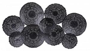 Decoratiune metalica pentru perete, negru, 66x120x7 cm