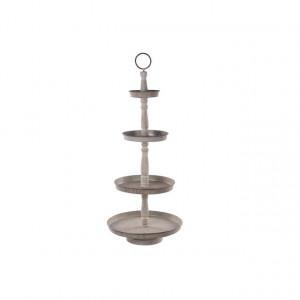 Etajera 4 niveluri metalice, gri antichizat, 49x119 cm