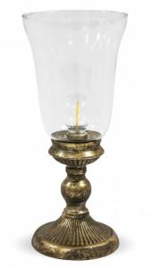 Felinar de sticla cu LED, baza metalica, 33 cm