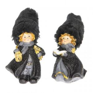 Figurina copii, caciula textila, negru/auriu, 6x5.5x11.5 cm