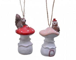 Figurina cu agatatoare, ciuperca cu animalut, 8 cm