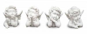 Figurina ingeras, polirasina, alb, 11x11x10 cm