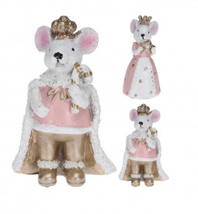 Figurina soricel cu coroana, alb/roz, 8.5 cm