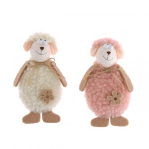 Figurina textila, oita cu agatatoare, roz/alb, 10x5.5x3 cm