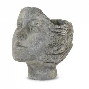 Ghiveci de piatra, forma cap femeie, 19.5x17 cm