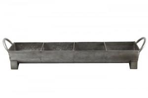 Ghiveci metalic gri, cu 4 compartimente, 63x14x13 cm