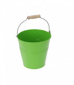 Ghiveci metalic verde, in forma de galeata, 23x24.5 cm