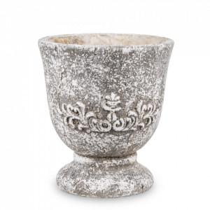 Ghiveci piatra, pe picior, gri antichizat, 18,5 x 16,5 cm