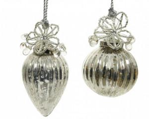Glob de sticla argintiu, model pietre, 8 cm