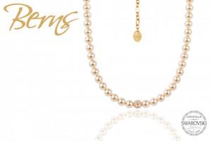Lantisor perle Swarovski, auriu, suflat cu aur 14k