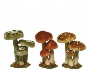 Ornament, 3 ciuperci, spuma, 9x12x17 cm