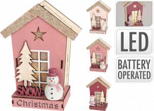 Ornament, casuta decor, roz, cu LED
