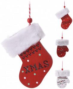 Ornament lemn/textil cu agatatoare, manusa/soseata, rosu/alb