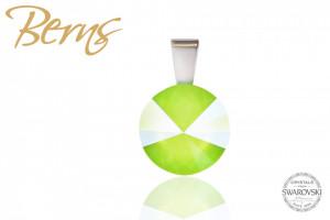 Pandantiv, cristal Swarovski, lime, diametru 12 mm