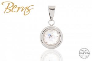 Pandativ, cristale Swarovski, margine argintie, diametru 10mm