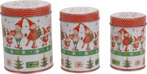 Set 3 cutii metalice, cilindrice, model copii