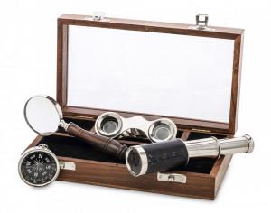 Set birou, 4 piese + cutie lemn, 5.5x22x13 cm