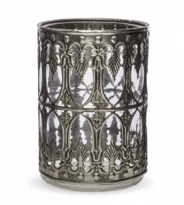 Suport lumanare, metalic/sticla, 14.5 cm
