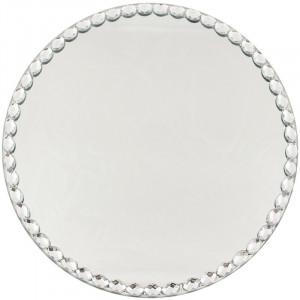 Suport lumanare oglinda, cu margele, 24.5 cm