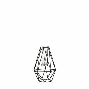 Suport metalic flori, negru, forma diamant, 11x10x17cm