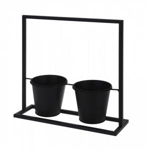 Suport metalic negru pentru flori, cu 2 ghivece, dimensiune suport 30x31 cm