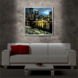 Tablou iluminat LED cu rama metalica City on the Night (60 x 60 cm)
