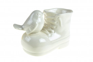 Vas ceramica, model gheata cu pasare, 8.5x12 cm