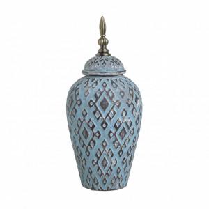 Vaza ceramica cu capac, auriu/blue antichizat, 16x36 cm
