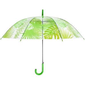 Umbrela transparenta, model tropical verde