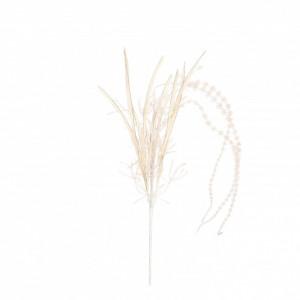 Buchet artificial, Erica, cu fulgi, crem, 87x8 cm