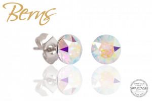 Cercei, cristale Swarovski, alb, diametru 6mm