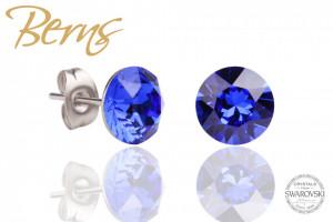 Cercei, cristale Swarovski, albastru aprins, diametru 8mm
