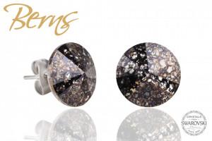 Cercei, cristale Swarovski, auriu, diametru 12 mm