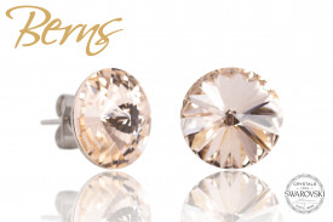 Cercei, cristale Swarovski, crem, diametru 12mm