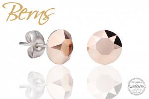 Cercei, cristale Swarovski, crem, diametru 8mm