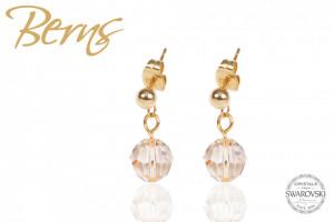 Cercei, cristale Swarovski, cu agatatoare, auriu