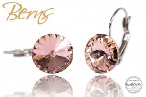 Cercei, cristale Swarovski, cu agatatoare, rosegold, 12mm