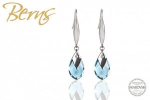 Cercei, cristale Swarovski, forma lacrima, albastru