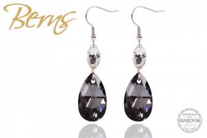 Cercei, cristale Swarovski, forma lacrima, negru